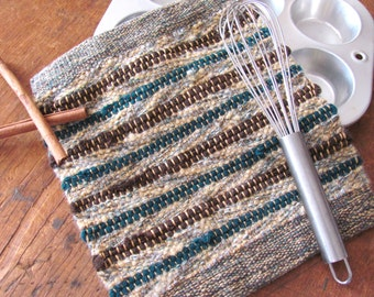 Upcycled Green Wool Kitchen Pot Holder, BBQ Grill Oven Hot Mat, Handmade Hand Woven Eco Recycled Modern Rustic Gourmet Baking Cooking Gifts