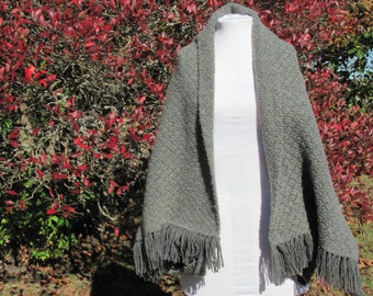 Hand Woven Wool Cape Cloak Shrug Cardigan Blanket Coat Cocoon Jacket Winter Hygge Clothing Rustic Country Cabin Womens Wrap Mantelet Capelet