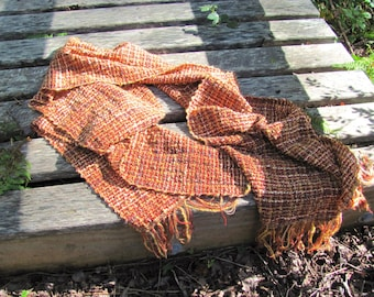 Etsy's Pick! Copper Rust Orange Coral Gold Spice Amber Scarf, Artisan Woven Mens Womens Autumn Fall Wrap, Rustic Urban Clothing Accessory