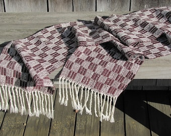 Etsy's Pick Mens Womens Scarf, Artisan Hand Woven Cotton Blend Burgundy Wine Red & Brown Urban Casual City Style Handmade Clothing Accessory