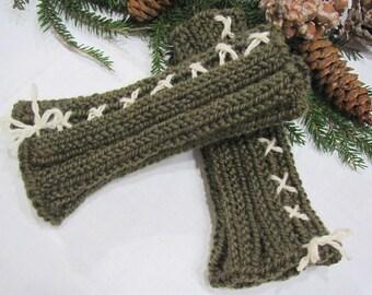 Knitted Wristwarmers, Olive Green Handwarmers, Hand Knit Wool Yarn Fingerless Gloves, Hygge Winter Hand Warmers, Woodland Rustic Accessories