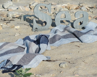 Navy Blue Beige Stripe Cotton Scarf, Artisan Woven Ocean Sea Water Element Serenity Feng Shui Chakra Zen Meditation Om Yoga Prayer Shawl