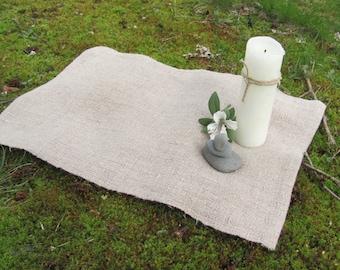 Small Linen Altar Cloth Table Centerpiece, Artisan Woven, Wiccan Pagan Druid Woodland Earth Element Buddhist Zen Meditation Spiritual Prayer