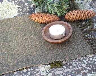 Altar Mat Cloth Table Centerpiece, Woodland Spiritual Grounding Prayer Earth Element Pagan Wiccan Serenity Meditation Decor, Artisan Woven