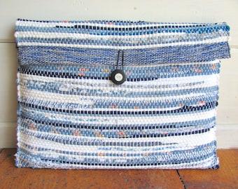 Boho Laptop Bag, Notebook Laptop Sleeve Computer Case, Handmade Cloth Fabric Artisan Hand Woven Blue, Vegan Eco Zero Waste Recycled Upcycled