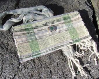 Fabric Clutch Wristlet, Artisan Handmade Woven Cloth Boho Hand Bag, Zero Waste Eco Upcycled Recycled Summer Fashion Accessory Envelope Purse