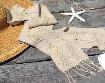 Sand Beige Brown Cotton Scarf, Artisan Hand Woven Light Summer Fall Mens Womens Long Narrow Tan Lace Stripe Scarf, Yoga Meditation Clothing