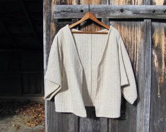 Wool Kimono Jacket, Blanket Coat, Natural Rustic Short Artisan Hand Woven Oatmeal Beige Fall Winter Woodland Mountain Cabin Hygge Clothing
