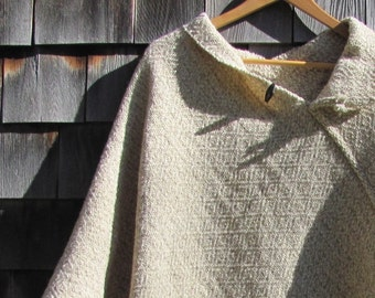 Etsy's Pick! Wool Poncho, Handmade Artisan Hand Woven Beige White Blanket Coat, Hygge Woodland Cabin Cloak Mens Womens Rustic Clothing