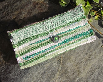 Small Fabric Clutch Wallet, Cloth Boho Phone Purse, Handmade Artisan Hand Woven Eco Upcycled Zero Waste Recycled Travel Cosmetic Makeup Bag