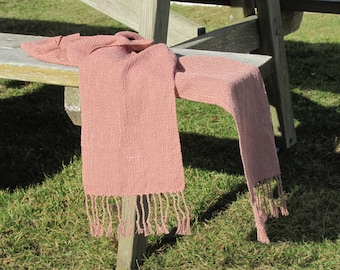 Blush Rose Pink Heather Scarf, Artisan Handmade Hand Woven Calm Serenity Stole, Rustic Country Cabin Urban Winter Spring Womens Fashion Wrap