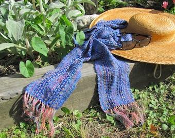 Artisan Hand Woven Cotton Scarf, Chakra Reiki Holistic Yoga Accessories, Handmade Blue Fiesta Rainbow Lightweight Long Narrow Scarf