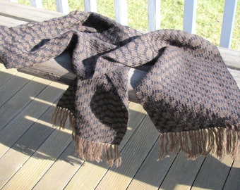 Alpaca Scarf, Mens Womens Artisan Hand Woven Chocolate Brown Black Hygge Rustic Accessories Fall Winter Clothing Apparel Gifts, Made in USA