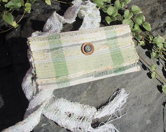 Boho Cloth Clutch Wallet Artisan Handmade Woven Fabric Envelope Purse Wristlet, Travel Makeup Hand Bag, Zero Waste Eco Upcycled Recycled