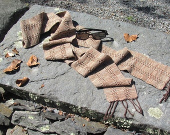 Etsy's Pick! Handmade Cotton Scarf, Earthy Rust Lichen Sage Brown Melange Mix Autumn Fall Mens Womens Artisan Hand Woven Lace Stripe Scarf