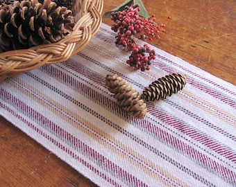 Cranberry Red Table Runner, Long Narrow Table Runner, Artisan Woven Rustic Country Modern Farmhouse Decor Red Gold Stripe Centerpiece Cloth