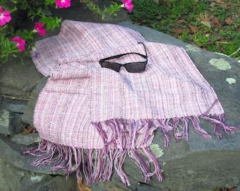 Artisan Hand Woven Scarf, Long Rose Pink Amethyst Purple Cotton Blend Saori Melange Mix Reiki Yoga Calm Balance Harmony Clothing, Handmade