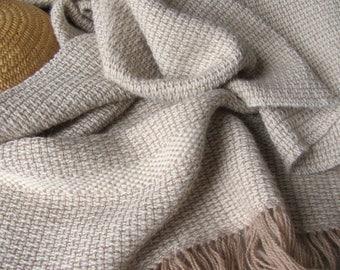 Artisan Hand Woven Alpaca Shawl, Om Yoga Spiritual Stole, Serenity Meditation Prayer Blanket Scarf Wrap, Beige Cream White Wedding Shawl