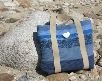 Etsy's Pick! Large Fabric Tote Bag, Handmade Eco Vegan Recycled Upcycled Cloth Purse, Artisan Woven Computer Travel Shoulder Bag, Ocean Blue