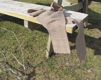 Long Narrow Artisan Hand Woven Scarf, Light Brown Wool Cotton Mens Womens Autumn Fall Winter Lace Stripe Scarf Rustic Clothing Accessories