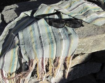 Lightweight Earthy Green Stripe Cotton Blend Scarf, Handmade Artisan Woven Boho Modern Rustic Scarf for Men Women, Spiritual Serenity Gift