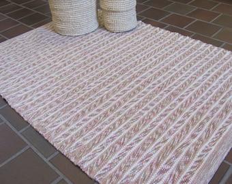 Zen Meditation Yoga Mat, Blush Rose Pink Beige Hand Woven Wool Rug, Modern Farmhouse Country Cottage Beach Rustic Cabin Shaker Decor Rug