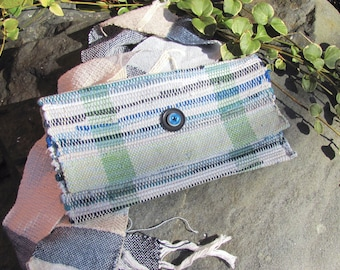 Zero Waste Upcycled Cloth Clutch Purse Wallet, Handmade Vegan Eco Recycled Fabric Hand Bag, Artisan Woven Boho Casual Accessories Wristlet