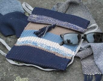 Small Crossbody Bag Fabric Wallet Phone Purse, Handmade Artisan Hand Woven Vegan Zero Waste Eco Recycled Upcycled Cloth, Indigo Navy Blue