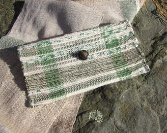 Cloth Envelope Clutch Wallet Purse Wristlet, Boho Handmade Artisan Woven Fabric Travel Cosmetic Makeup Bag, Zero Waste Eco Upcycled Recycled