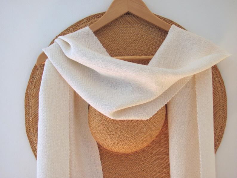178206f1cd92e Cream White Alpaca Dress Scarf Artisan Hand Woven Scarf Mens | Etsy