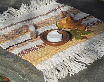 Sun Yellow Gold Altar Cloth Table Mat, Autumn Fall Centerpiece, Yoga Zen Meditation Spiritual Energy Earth Element Reiki Chakra Woven Mat