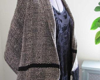 Shrug Cape Mantelet Envelope Wrap Bolero Shawl Cover Up, Beige Chenille Black Wool Crepe Handwoven Formal Fashion Prayer Meditation Clothing