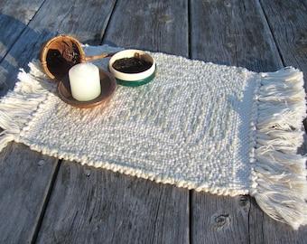 Small Woven Cloth Table Centerpiece Altar Mat, Garden Tea Ceremony Chaxi Chado Accessories, Zen Serenity Spiritual Hygge Winter Cabin Decor