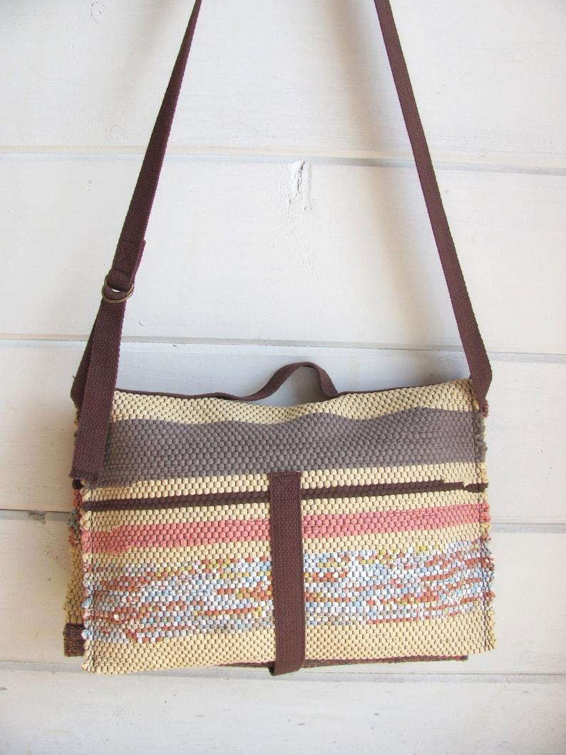 Womens Shoulder Bag Autumn Fall Rag Tote Bag Purse Handmade Zero Waste Eco Recycled Upcycled Cotton Fabric Bag Artisan Hand Woven Bag