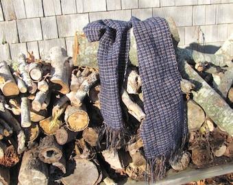 Indigo Navy Blue Beige Black Scarf, Mens Womens Fall Winter Accessories Long Artisan Hand Woven Melange Mix Rustic Woodland Cabin City Scarf