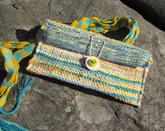 Small Woven Clutch Wallet, Boho Cloth Smart Phone Purse, Soft Fabric Eyeglasses Case, Eco Zero Waste Upcycled Recycled Travel Jewelry Pouch