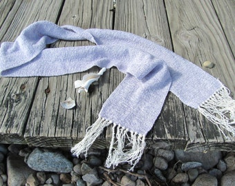 Etsy's Pick Lavender Scarf, Handmade Amethyst Purple Hand Woven Long Narrow Lightweight Mens Womens Om Yoga Serenity Meditation Prayer Stole