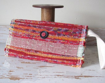 Etsy's Pick! Boho Envelope Clutch Wallet Hand Bag, Fire Red Woven Vegan Slow Fashion Eco Recycled Upcycled Cloth Cotton Wristlet Purse