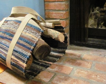 Firewood Log Carrier, Fire Wood Log Bag Tote, Fireplace Tools, Fireplace Decor, Rustic Hygge Cabin Country Home Farmhouse Firewood Carry Bag