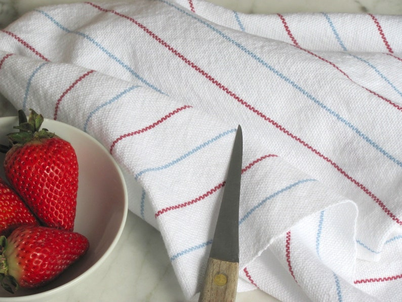 Artisan Hand Woven Cotton Kitchen Tea Towels Weaving Pattern image 0