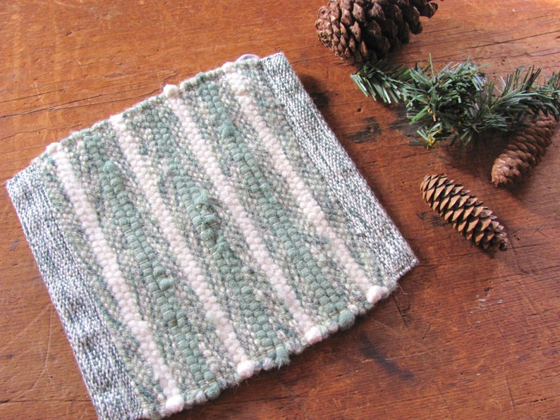 Rustic French Country Modern Farmhouse Decor Oven Hot Mat Foodie Gift Gourmet Cooking Chef Kitchen Decor Hand Woven Green Wool Pot Holder