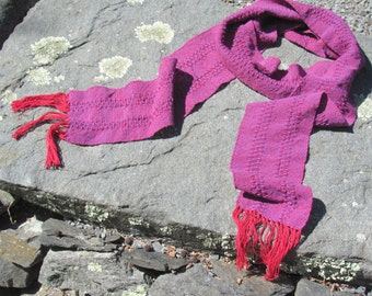 Red Purple Cotton Scarf, Handmade Long Narrow Artisan Hand Woven Bright Fiesta Natural Positive Energy Clothing Spring Summer Fall Scarf