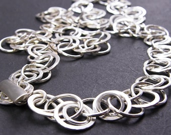 Silver Chain Double Link Necklace. Hand Forged Silver Necklace. Eco Friendly Argentium Silver Statement Necklace. Choose Length, Clasp
