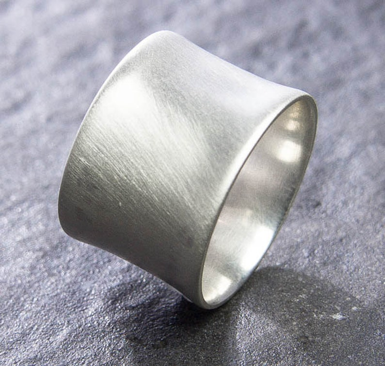 01f808b0c88c8 Extra Wide Flared Silver Ring, Choose Finish. Custom Jewelry. Recycled  Sterling Silver Ring. Wide Thick Silver Band.