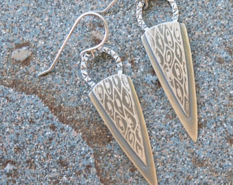 Feather ... roll printed sterling silver art to wear earrings by Mikelene Reusse Mikelene's Jewelry