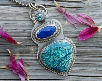 Azure Blue  ... Pendant .. sterling silver statement PENDANT/Focal piece contemporary METALSMITH Artisan jewelry by Mikelene