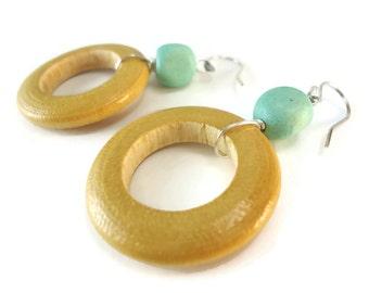 Light Wood Hoop Earrings Seafoam Beaded Dangles, Seafoam Green Earrings Wood and Sterling Silver Wire Wrapped Blond Wood Jewelry Bohemian