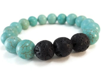 Light Blue Stretch Bracelet Magnesite Beads, Black Lava Rock Bracelet Stone Beads with Brown Veined Details, Magnesite Jewelry Slip On