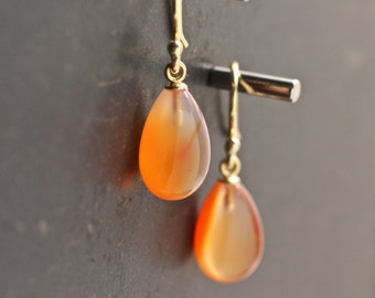 Carnelian Earrings Orange Earrings Tear Drop Earrings Dangle Earrings Velvet Gemstone Earrings Gift For Her Jewelry Under 75 Bridal Earring
