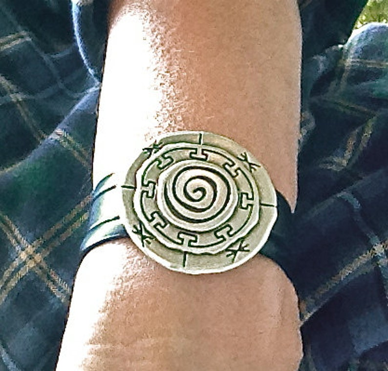 Mandala Bracelet Spiritual Jewelry Leather Bracelet Silver Bracelet Leather Cuff Amy Fine Design Large Silver Bracelet